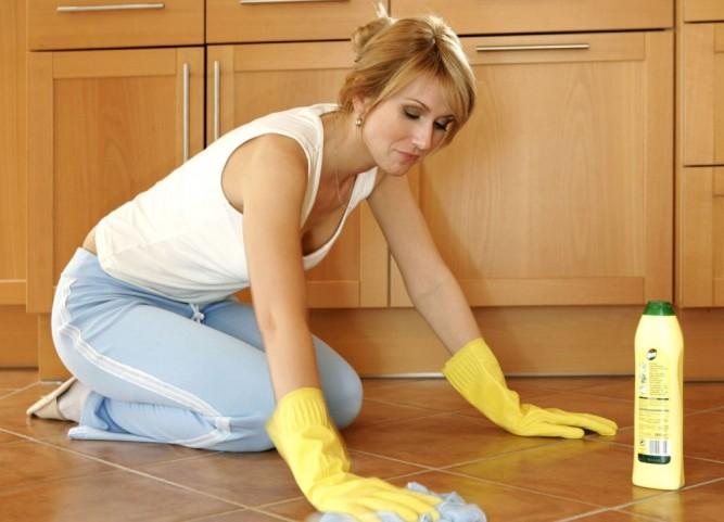 Frau bei der Hauswork, working, operate, operating, employee, worker, workman, job, employment, do, doing Boden schruppen, woman doing housework scrubbing floor