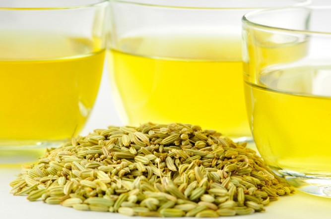 a cup of fennel seeds tea
