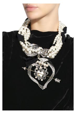 Colier Lanvin  cu perle din sticla si funda cu diamante