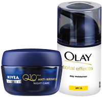 Olay Total Effects, Nivea Visage Q10 Plus