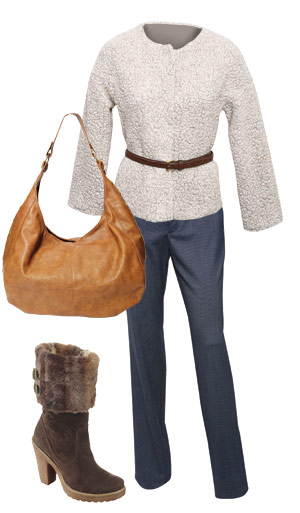 haina, geanta, pantaloni, cizme