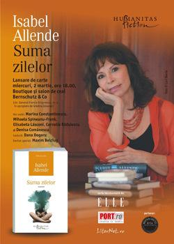 Lansare, Editura Humanitas Fiction, Suma zilelor, Isabel Allende