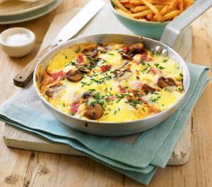 Omleta, jambon, ciuperci