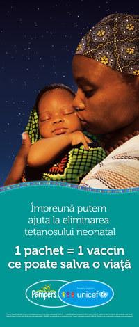 "Campania ""1 pachet = 1 vaccin"", sustinuta de Pampers si UNICEF"