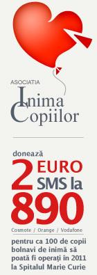 fiecare SMS trimis la 890 inseamna o donatie de 2 Euro