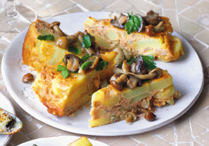 Tortilla cu usturoi si ciuperci