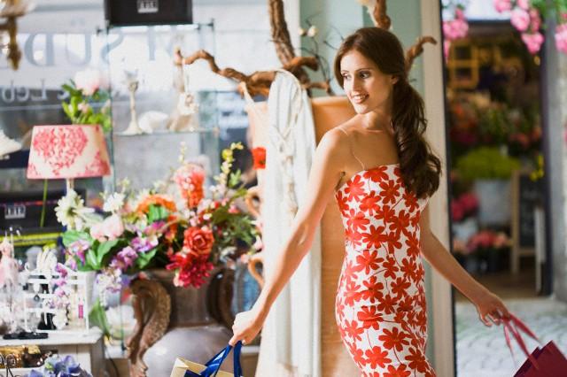 girl having shopping fun