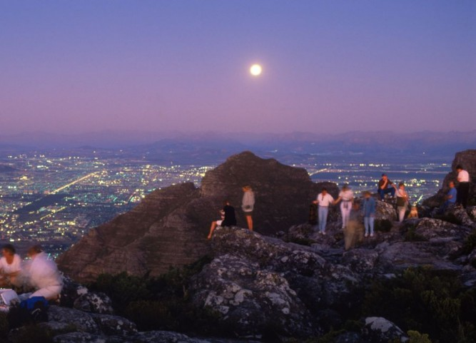 africa, cape town and table bay at twilight from table mountain