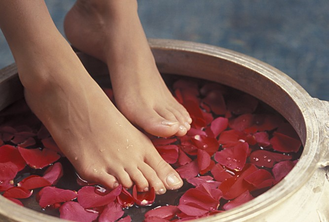 Footbath with rose petals