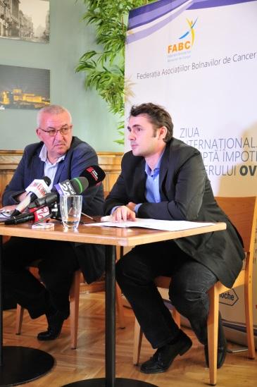Cezar Irimia, Presedintele Federatiei Asociatiilor Bolnavilor de Cancer, Mircea Gongu,  medic specialist oncologie