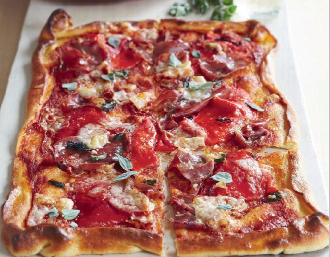 pizza cu sunca si ardei gras