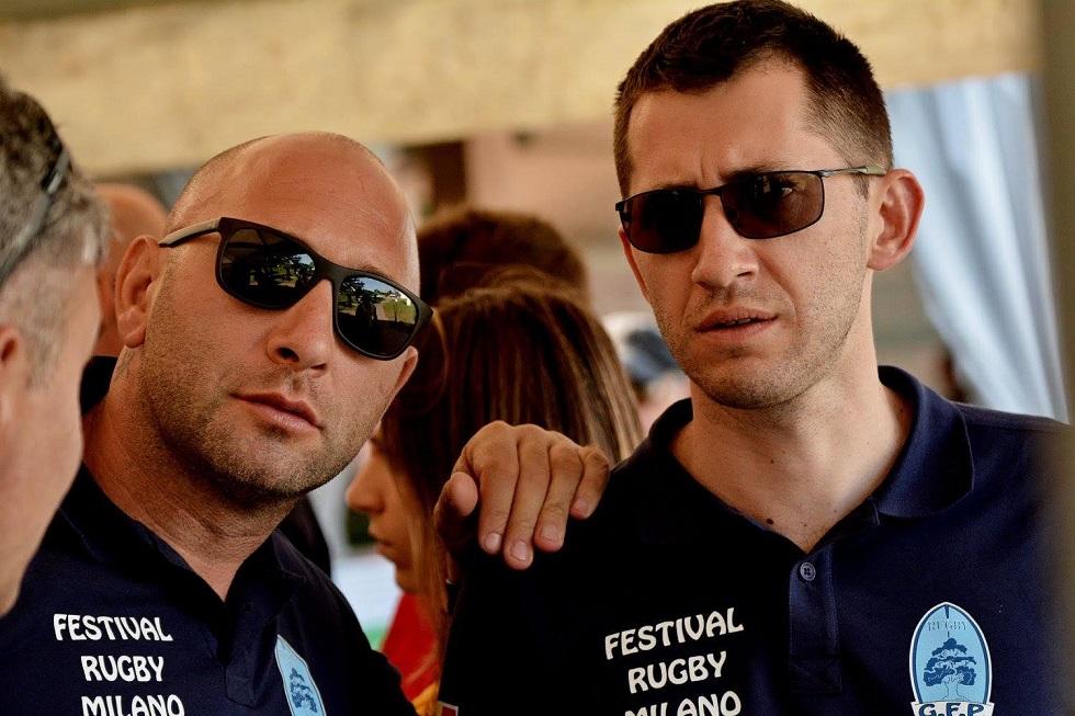 Dr. Octav Ginghină și Antonio Dumitru, antrenorul clubului de minirugby din Complexul Sportiv Tei
