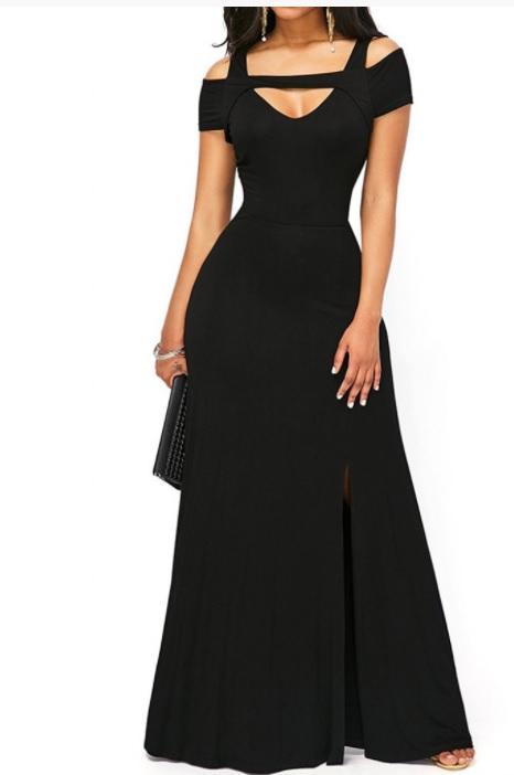 Rochie de seară neagră, lungă, Wildfashion