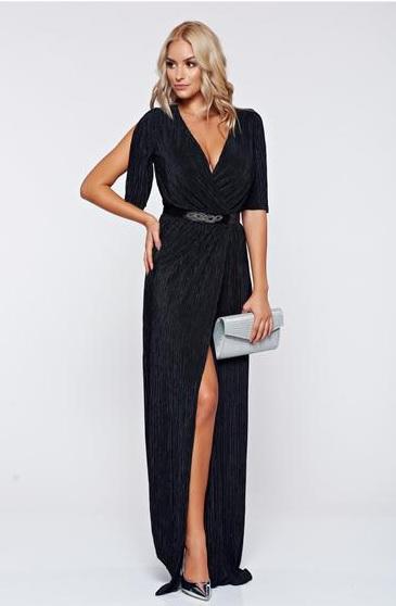 Rochie de seară neagră, lungă, starshiners