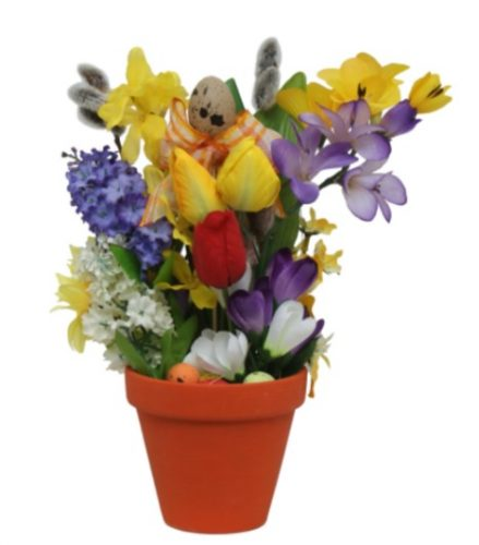 Decorațiuni de Paște-aranjament din flori artificiale și multicolore