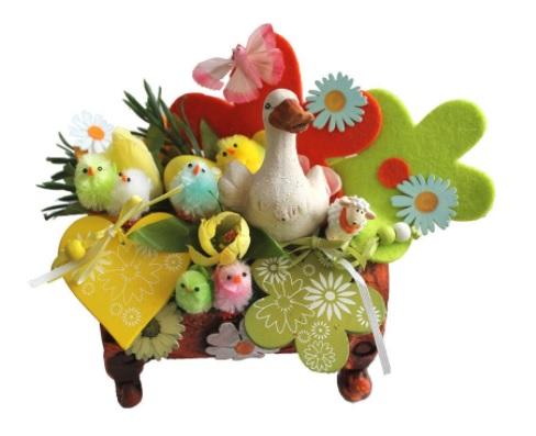 Decorațiuni de Paște-aranjament din flori artificiale cu animăluțe