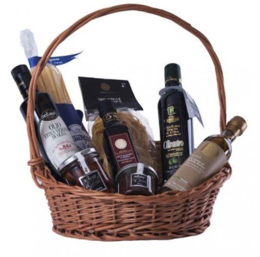 Coșuri cadou de Paște-coș cu produse gourmet