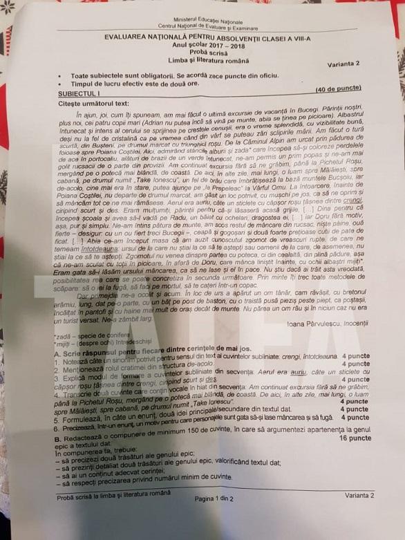 Evaluarea Națională 2018, Limba și Literatura Românã1