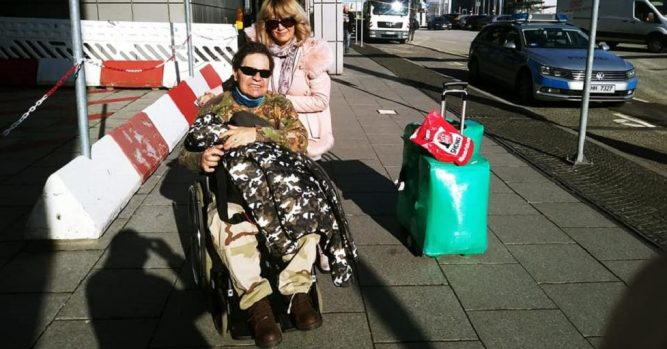 Leo Iorga in scaunul cu rotile