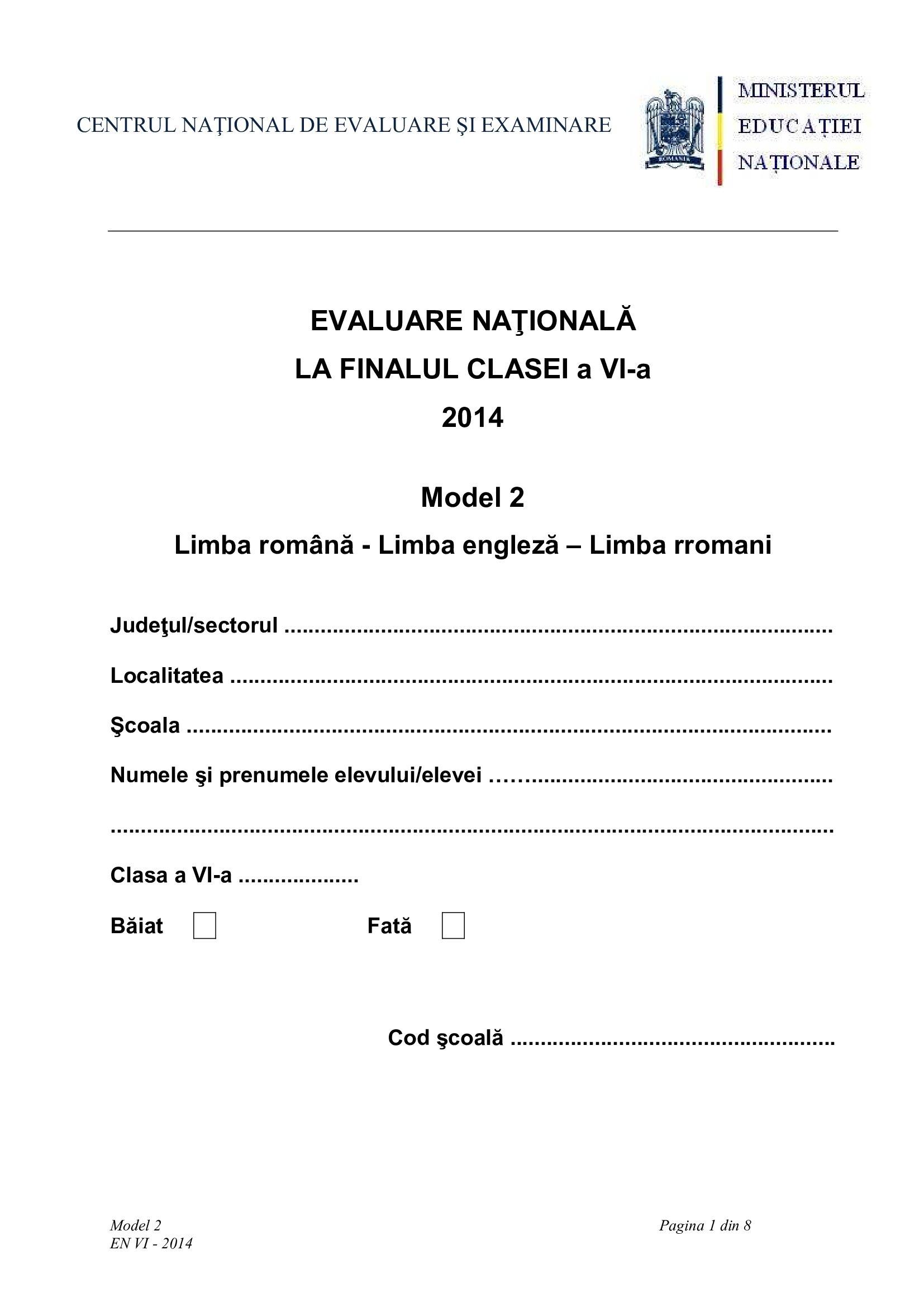Evaluare Națională clasa a VI-a