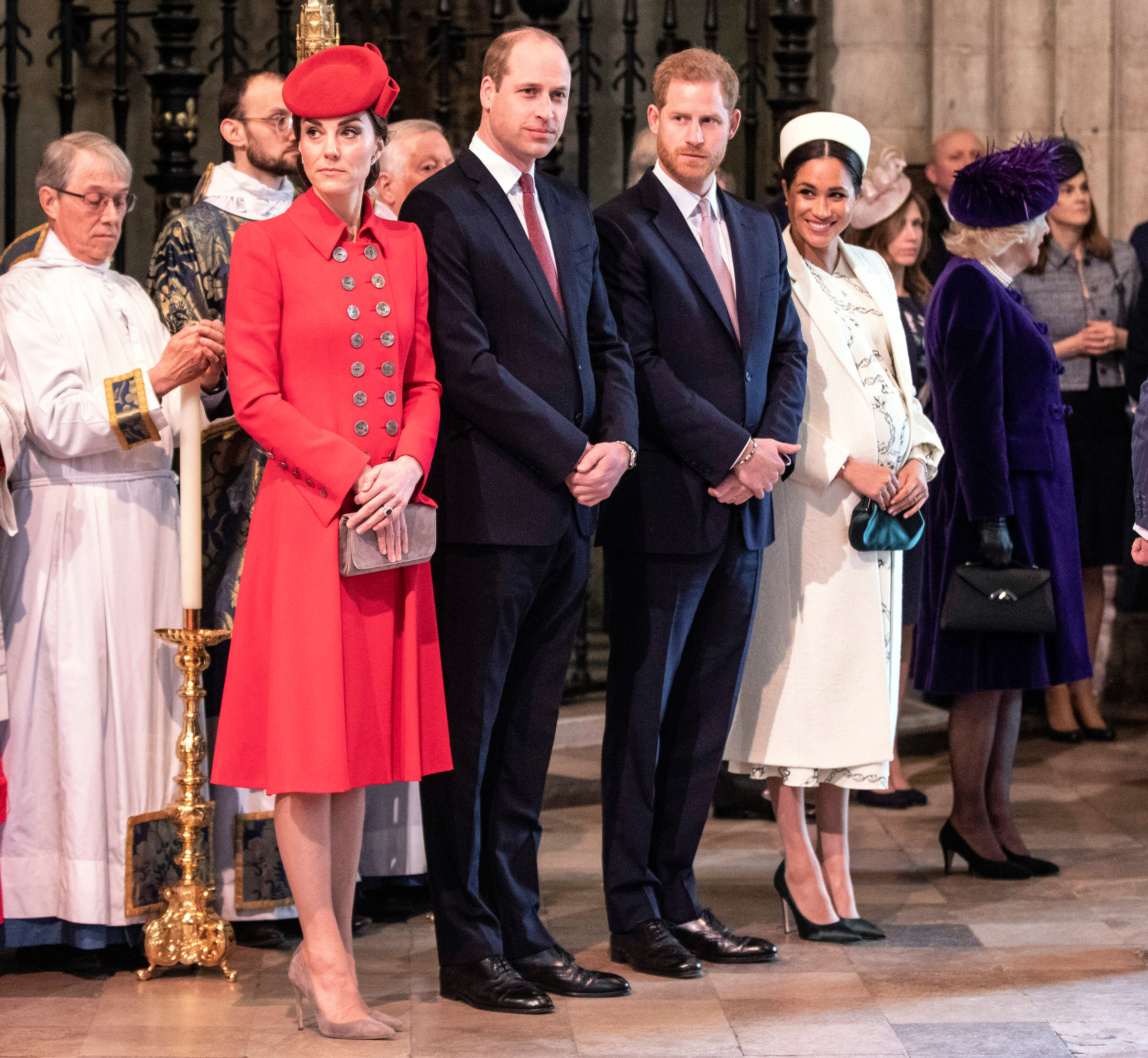 Kate Middleton, prințul William, prințul Harry și Meghan Markle